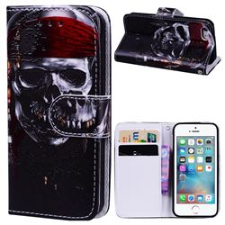 Skull Head 3D Relief Oil PU Leather Wallet Case for iPhone SE 5s 5