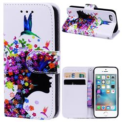 Flower Girl 3D Relief Oil PU Leather Wallet Case for iPhone SE 5s 5