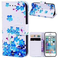 Star Flower 3D Relief Oil PU Leather Wallet Case for iPhone SE 5s 5