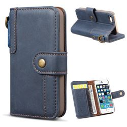 Retro Luxury Cowhide Leather Wallet Case for iPhone SE 5s 5 - Blue