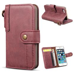 Retro Luxury Cowhide Leather Wallet Case for iPhone SE 5s 5 - Wine Red