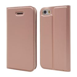 Ultra Slim Card Magnetic Automatic Suction Leather Wallet Case for iPhone SE 5s 5 - Rose Gold