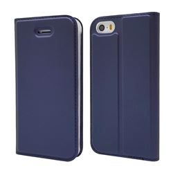 Ultra Slim Card Magnetic Automatic Suction Leather Wallet Case for iPhone SE 5s 5 - Royal Blue