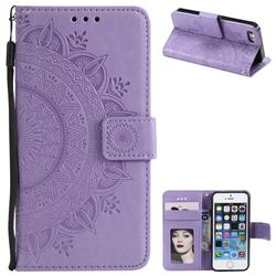 Intricate Embossing Datura Leather Wallet Case for iPhone SE 5s 5 - Purple