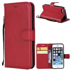Retro Greek Classic Smooth PU Leather Wallet Phone Case for iPhone SE 5s 5 - Red
