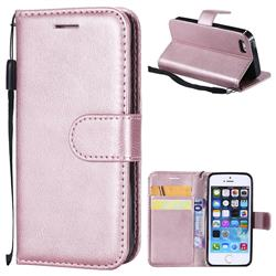 Retro Greek Classic Smooth PU Leather Wallet Phone Case for iPhone SE 5s 5 - Rose Gold