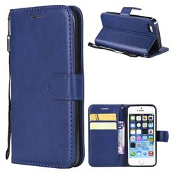 Retro Greek Classic Smooth PU Leather Wallet Phone Case for iPhone SE 5s 5 - Blue