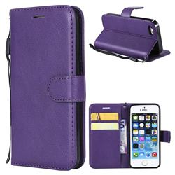 Retro Greek Classic Smooth PU Leather Wallet Phone Case for iPhone SE 5s 5 - Purple