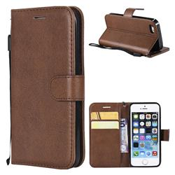 Retro Greek Classic Smooth PU Leather Wallet Phone Case for iPhone SE 5s 5 - Brown
