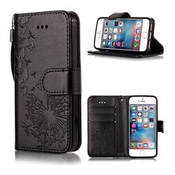 Intricate Embossing Dandelion Butterfly Leather Wallet Case for iPhone SE 5s 5 - Black
