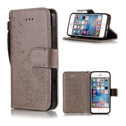 Intricate Embossing Dandelion Butterfly Leather Wallet Case for iPhone SE 5s 5 - Gray