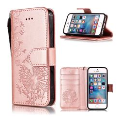 Intricate Embossing Dandelion Butterfly Leather Wallet Case for iPhone SE 5s 5 - Rose Gold