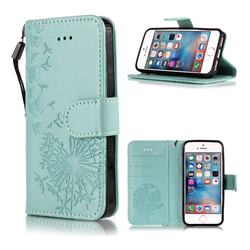Intricate Embossing Dandelion Butterfly Leather Wallet Case for iPhone SE 5s 5 - Green