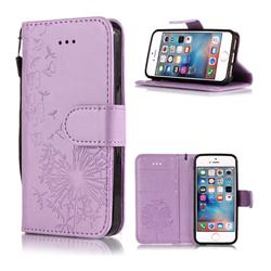 Intricate Embossing Dandelion Butterfly Leather Wallet Case for iPhone SE 5s 5 - Purple