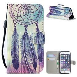 Feather Wind Chimes 3D Painted Leather Wallet Phone Case for iPhone SE 5s 5