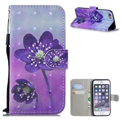 Purple Flower 3D Painted Leather Wallet Phone Case for iPhone SE 5s 5