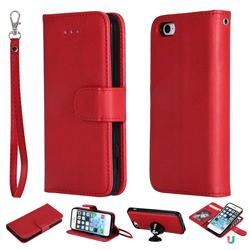 Retro Greek Detachable Magnetic PU Leather Wallet Phone Case for iPhone SE 5s 5 - Red