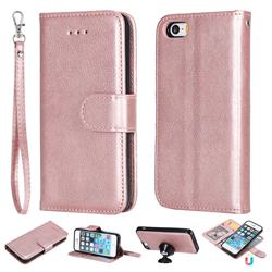 Retro Greek Detachable Magnetic PU Leather Wallet Phone Case for iPhone SE 5s 5 - Rose Gold