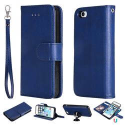 Retro Greek Detachable Magnetic PU Leather Wallet Phone Case for iPhone SE 5s 5 - Blue