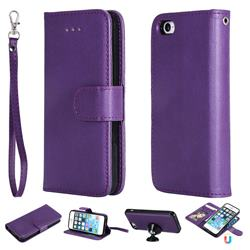 Retro Greek Detachable Magnetic PU Leather Wallet Phone Case for iPhone SE 5s 5 - Purple