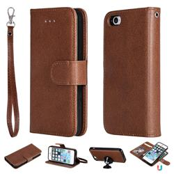 Retro Greek Detachable Magnetic PU Leather Wallet Phone Case for iPhone SE 5s 5 - Brown