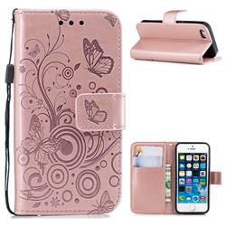 Intricate Embossing Butterfly Circle Leather Wallet Case for iPhone SE 5s 5 - Rose Gold