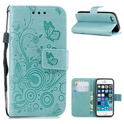 Intricate Embossing Butterfly Circle Leather Wallet Case for iPhone SE 5s 5 - Cyan