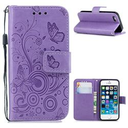 Intricate Embossing Butterfly Circle Leather Wallet Case for iPhone SE 5s 5 - Purple