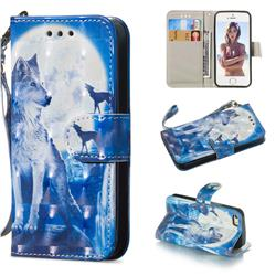 Ice Wolf 3D Painted Leather Wallet Phone Case for iPhone SE 5s 5