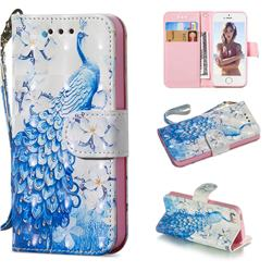 Blue Peacock 3D Painted Leather Wallet Phone Case for iPhone SE 5s 5