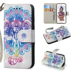 Colorful Elephant 3D Painted Leather Wallet Phone Case for iPhone SE 5s 5