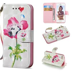 Flower Panda 3D Painted Leather Wallet Phone Case for iPhone SE 5s 5