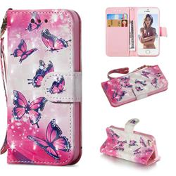 Pink Butterfly 3D Painted Leather Wallet Phone Case for iPhone SE 5s 5