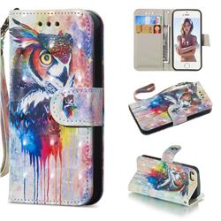 Watercolor Owl 3D Painted Leather Wallet Phone Case for iPhone SE 5s 5