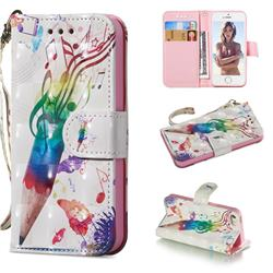 Music Pen 3D Painted Leather Wallet Phone Case for iPhone SE 5s 5
