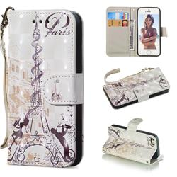 Tower Couple 3D Painted Leather Wallet Phone Case for iPhone SE 5s 5
