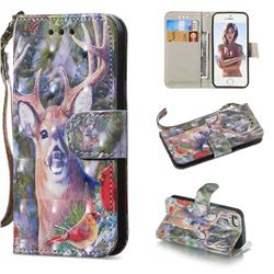 Elk Deer 3D Painted Leather Wallet Phone Case for iPhone SE 5s 5