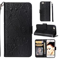 Embossing Fireworks Elephant Leather Wallet Case for iPhone SE 5s 5 - Black