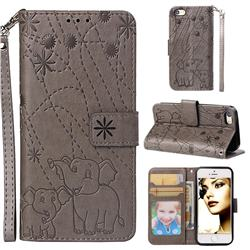 Embossing Fireworks Elephant Leather Wallet Case for iPhone SE 5s 5 - Gray