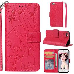 Embossing Fireworks Elephant Leather Wallet Case for iPhone SE 5s 5 - Red