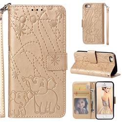 Embossing Fireworks Elephant Leather Wallet Case for iPhone SE 5s 5 - Golden