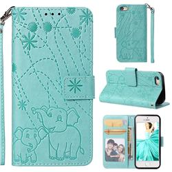 Embossing Fireworks Elephant Leather Wallet Case for iPhone SE 5s 5 - Green