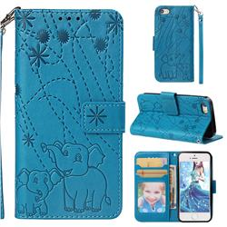 Embossing Fireworks Elephant Leather Wallet Case for iPhone SE 5s 5 - Blue