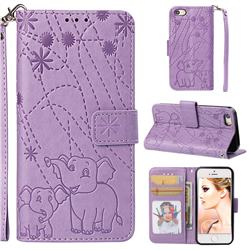 Embossing Fireworks Elephant Leather Wallet Case for iPhone SE 5s 5 - Purple