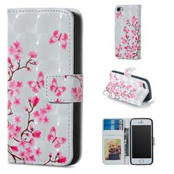 Butterfly Sakura Flower 3D Painted Leather Phone Wallet Case for iPhone SE 5s 5