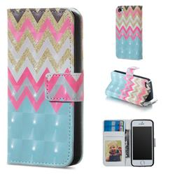 Color Wave 3D Painted Leather Phone Wallet Case for iPhone SE 5s 5