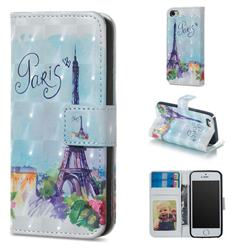 Paris Tower 3D Painted Leather Phone Wallet Case for iPhone SE 5s 5