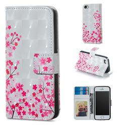 Cherry Blossom 3D Painted Leather Phone Wallet Case for iPhone SE 5s 5