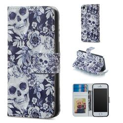 Skull Flower 3D Painted Leather Phone Wallet Case for iPhone SE 5s 5