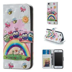 Rainbow Owl Family 3D Painted Leather Phone Wallet Case for iPhone SE 5s 5